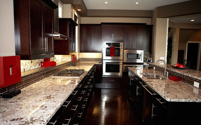 Kitchen with granite and quartz countertops